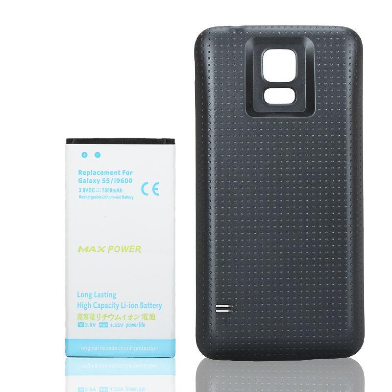 Batería de respaldo extendida de alta capacidad de 7000mAh para Samsung Galaxy S5 i9600 + funda trasera azul, batería de reemplazo para teléfono