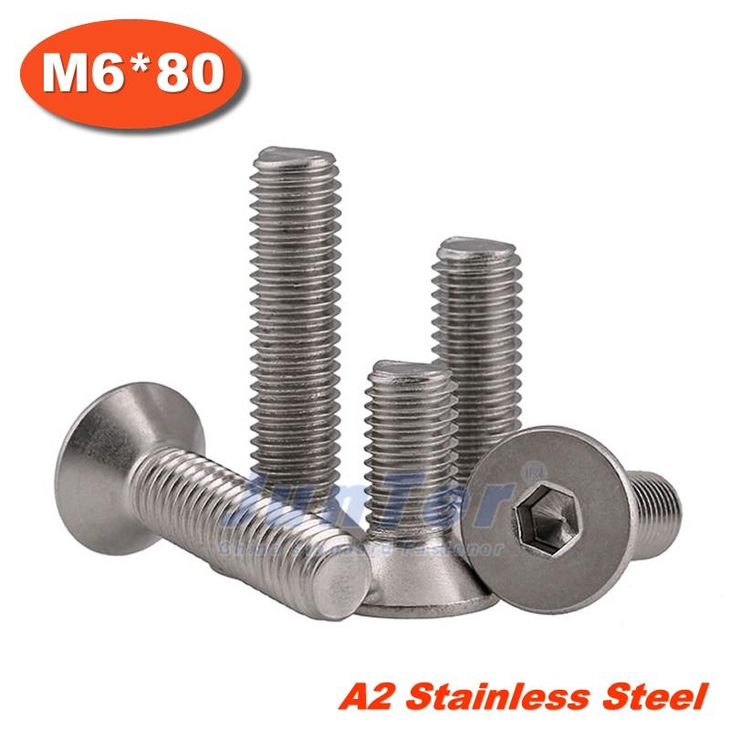 100pcs/lot DIN7991 M6*80 Stainless Steel A2 Flat Socket Head Cap Screw