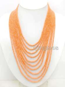 SALE Small 3-4mm Round Pink Natural Coral 18-27'' 10 strands necklace & silver plate Clasp-ne6093 Wholesale/retail Free shipping