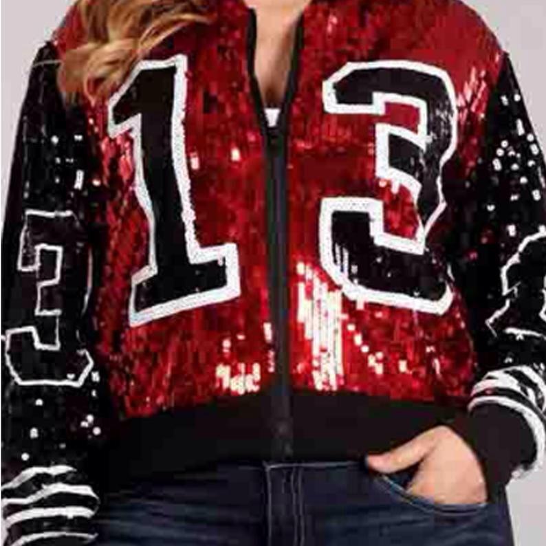 Moda griega lady streetwear abrigo 13 lentejuelas con cremallera manga larga deportiva bat sleeved Sorority chaquetas
