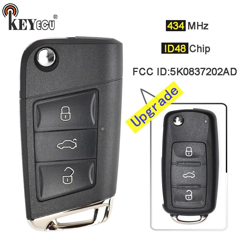 KEYECU 434 МГц ID48 чип 5K0837202AD обновленный дистанционный брелок 3 кнопки для V * W Volks * wagen Golf Passat Tiguan Polo Je * tta Beetle