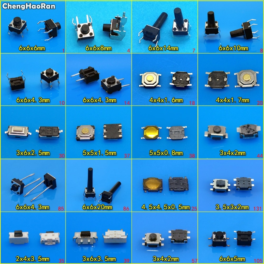 ChengHaoRan 20 modelos 6x6x4. 3/5/6/20mm Tact botón táctil interruptor SMD surtido Kit Set, 4Pin Micro interruptor 3x4x2mm