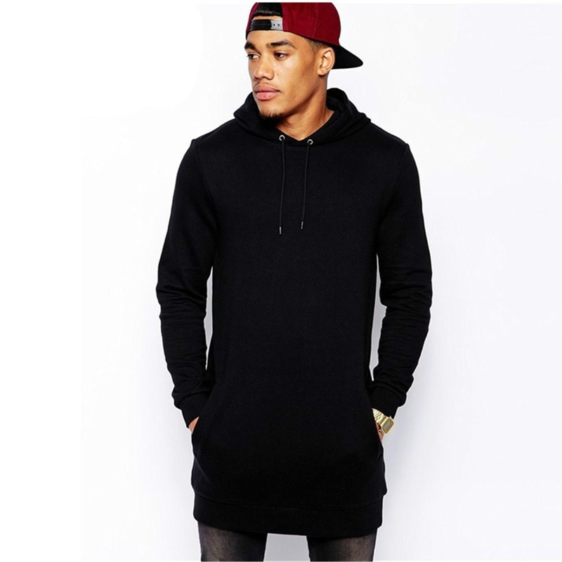 New Arrival Free Shipping Fashion Men's Long Black Hoodies Sweatshirts Feece With Side Zip Longline Hip Hop Streetwear Shirt 30