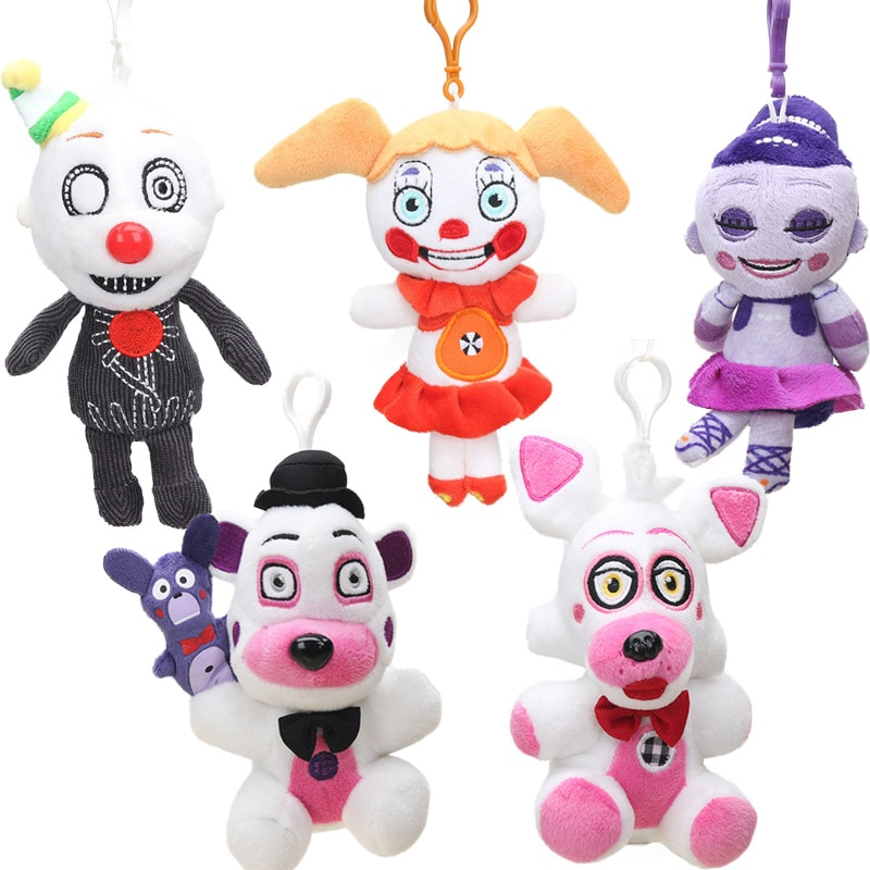 15cm 15 Uds Funtime Foxy Freddy Fazbear llavero de felpa ubicación hermana figura de juguete cinco noches en Freddys coleccionables muñecas FNAF