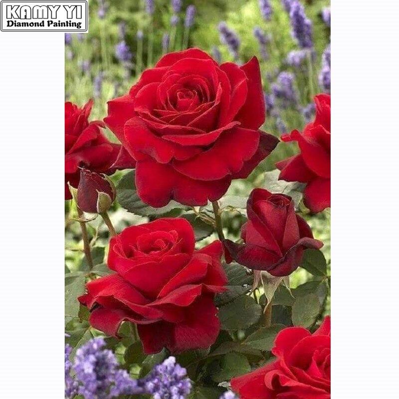 Алмазная вышивка 5D своими руками, полностью квадратная вышивка красными розами, алмазная живопись крестом, стразы, мозаика, Декор, новогодн...
