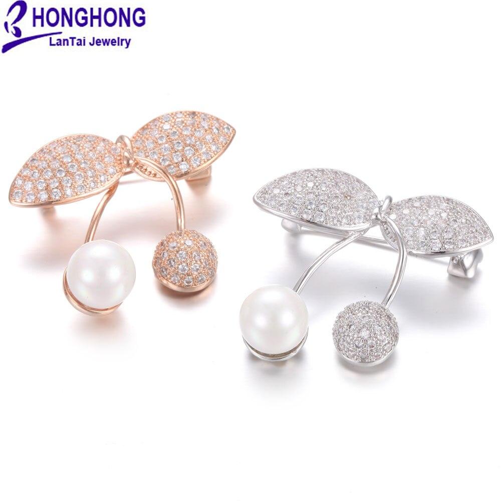 HONGHONG 2017 broches de perlas de alta calidad para mujeres, flores y plantas preciosas, broche de moda, joyería para regalo