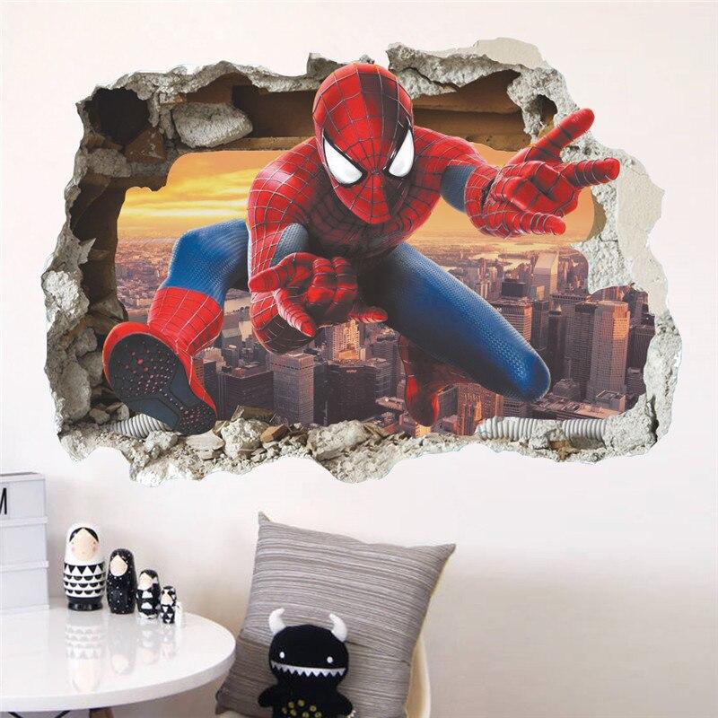 Мультфильм Человек-паук сломанные настенные наклейки для детей комнаты Настенные наклейки домашний декор Детская 3D эффект мальчик подарок плакат росписи