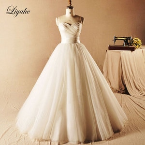 Elegant Organza and  Tulle Sleeveless A-Line Wedding Dress Pleat Lace Up Natural Waistline Vestido De Noiva Bride Dress