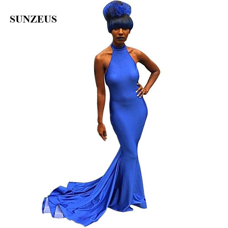 Vestidos De fiesta Azul sirena De cuello alto Vestidos largos De graduación simples elegantes azules De fiesta Vestido Mujer