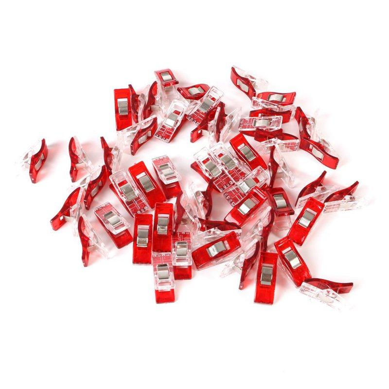 Набор из красных пластиковых зажимов для шитья одежды, 50 шт./компл.