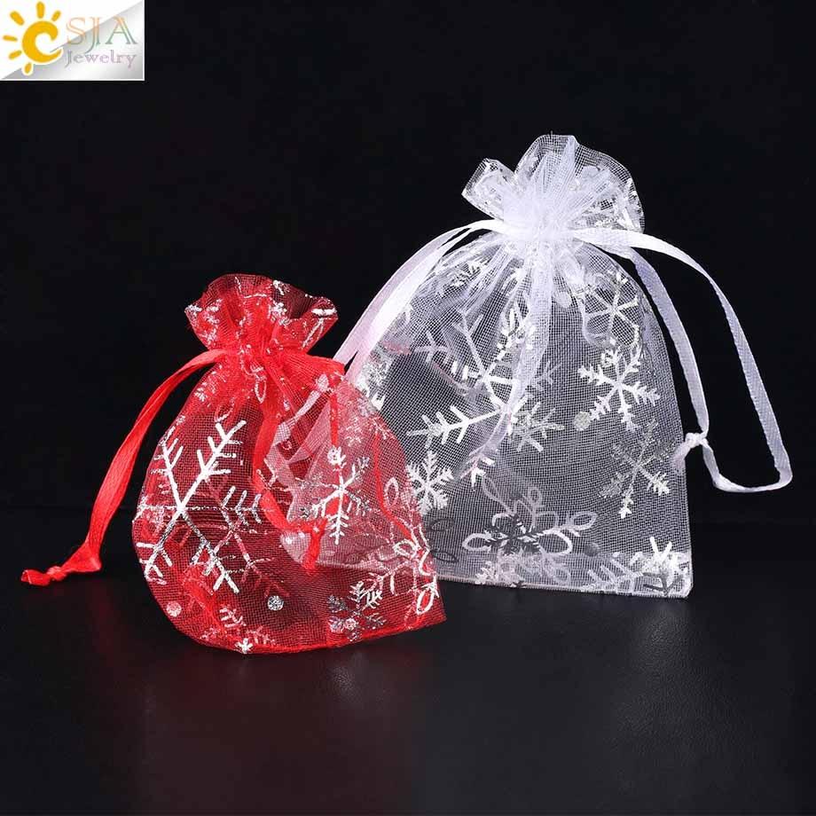 CSJA 10Pcs 12x9cm 9x7cm Organza Saco Branco Vermelho Do Partido Bolsas de Presente de Casamento Jóias exposição de embalagens de Decoração Pequenos Sacos F479