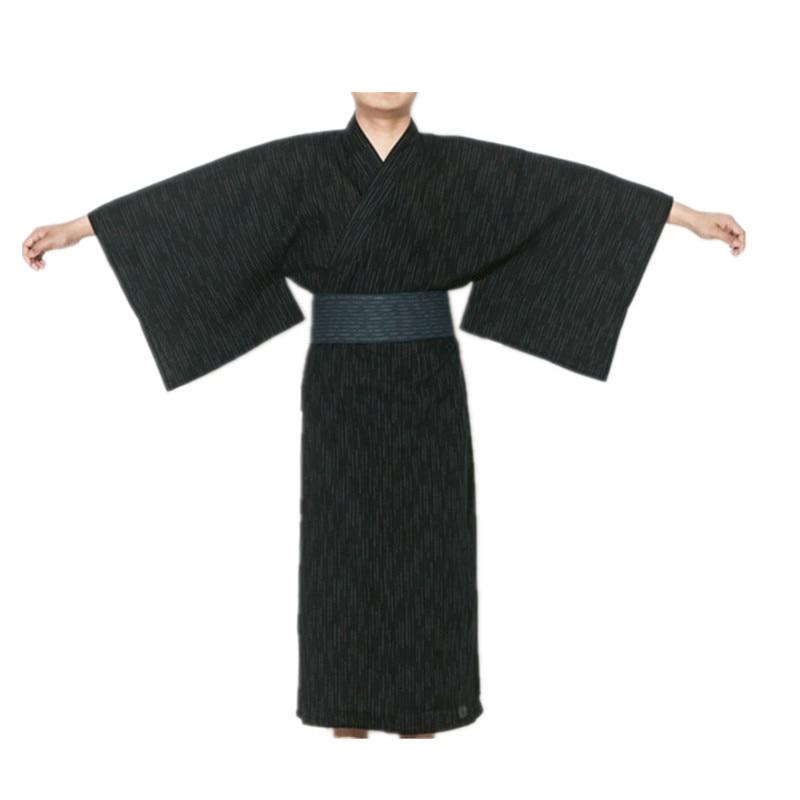 2017 Male Cool Traditional Japanese Kimono Men's Cotton Robe Yukata Men's Bath Robe Kimono Sleepwear with Belt 62503