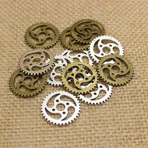 (40 unids/lote) 23mm Color aleación Metal Vintage amuletos de engranaje de joyería T0191