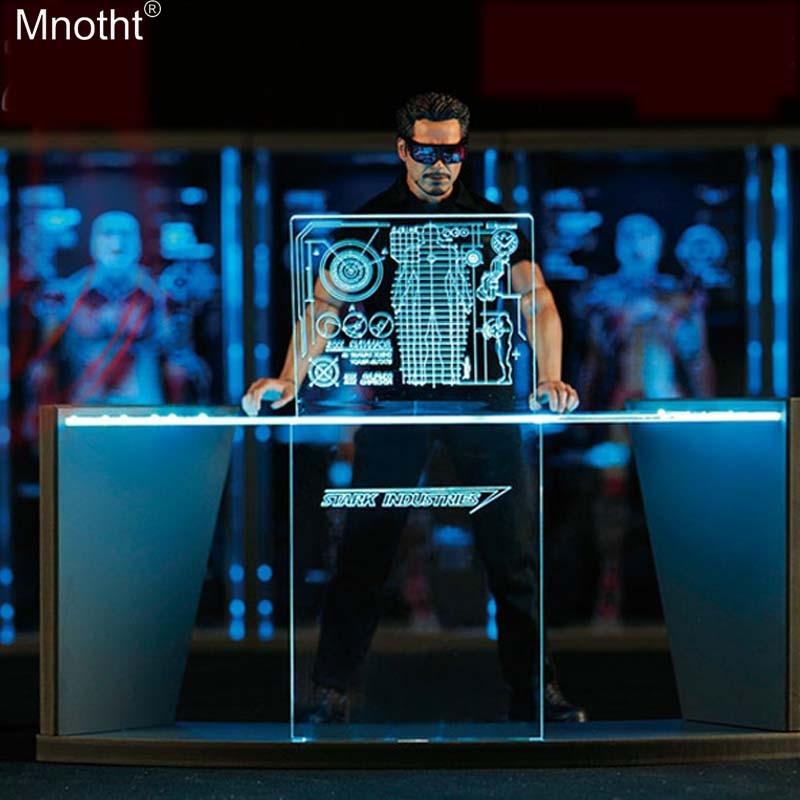 Caja de juguetes Mnotht 1/6, banco de trabajo con escena de depuración, mesa de exposición de Iron Man, mesa de depuración para 12 pulgadas, colección de figuras de acción de juguete de soldado m3n