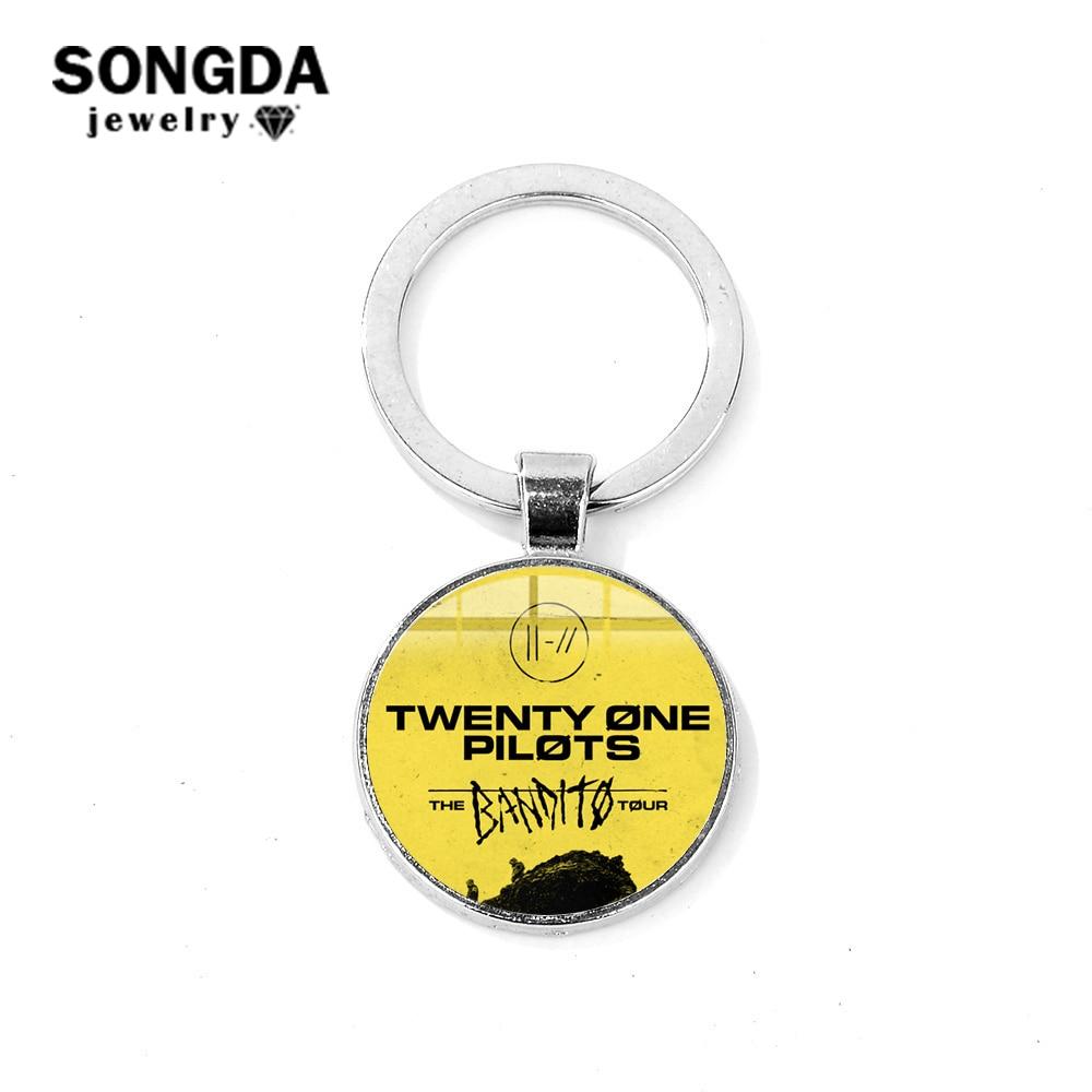Брелок SONGDA Pop Rock Band Twenty One, модный стеклянный купольный брелок для мотоцикла, автомобиля, круглые брелки для вентиляторов