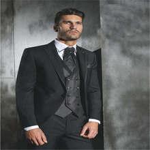 Black Normal Days Mens Work Suit Custom Made blazer masculino slim fit men blazer 3 Pieces suits wedding groom costume homme