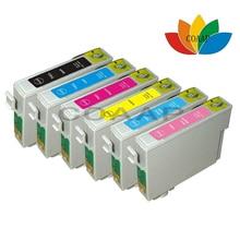 6 X Compatible cartucho de tinta para Epson R270/R290/R295/R390/RX590/RX610/RX615 T50 T59 TX650/TX700/TX800/TX710W T0821 82N