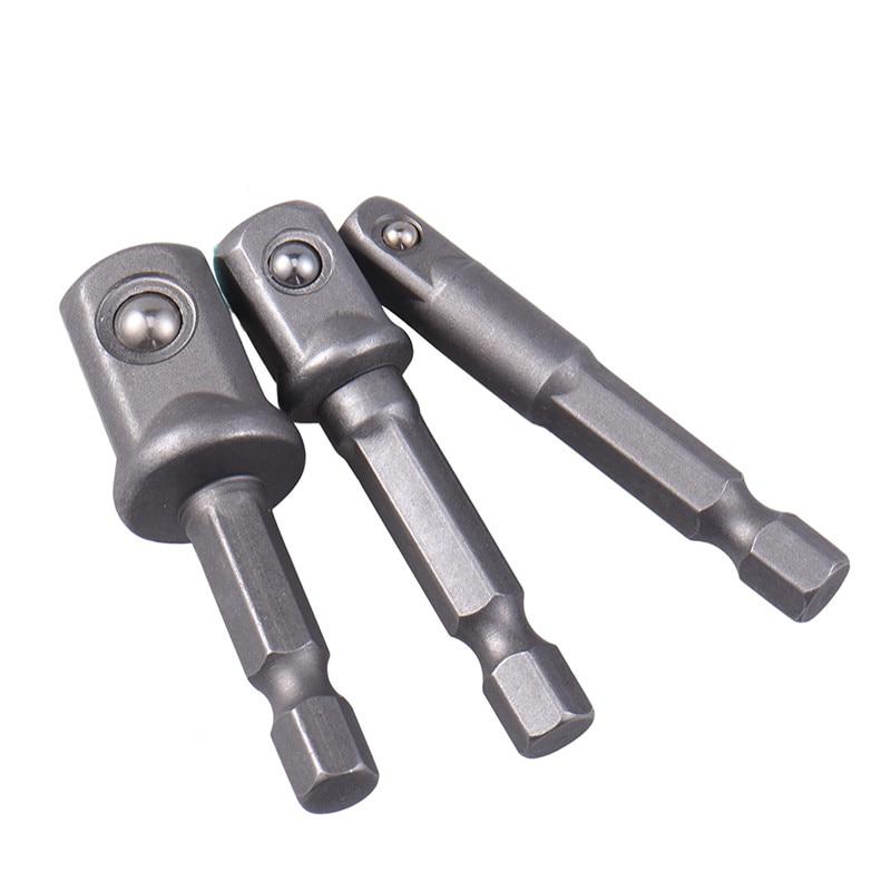 "New 3pcs/set Chrome Vanadium Steel Socket Adapter Hex Shank to 1/4"" 3/8"" 1/2"" Extension Drill Bits Bar Hex Bit Set Power Tools"