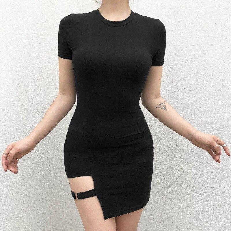 Черные женские платья Harajuku, летнее сексуальное мини-платье с коротким рукавом, асимметричное металлическое кольцо, готическое платье для девочек