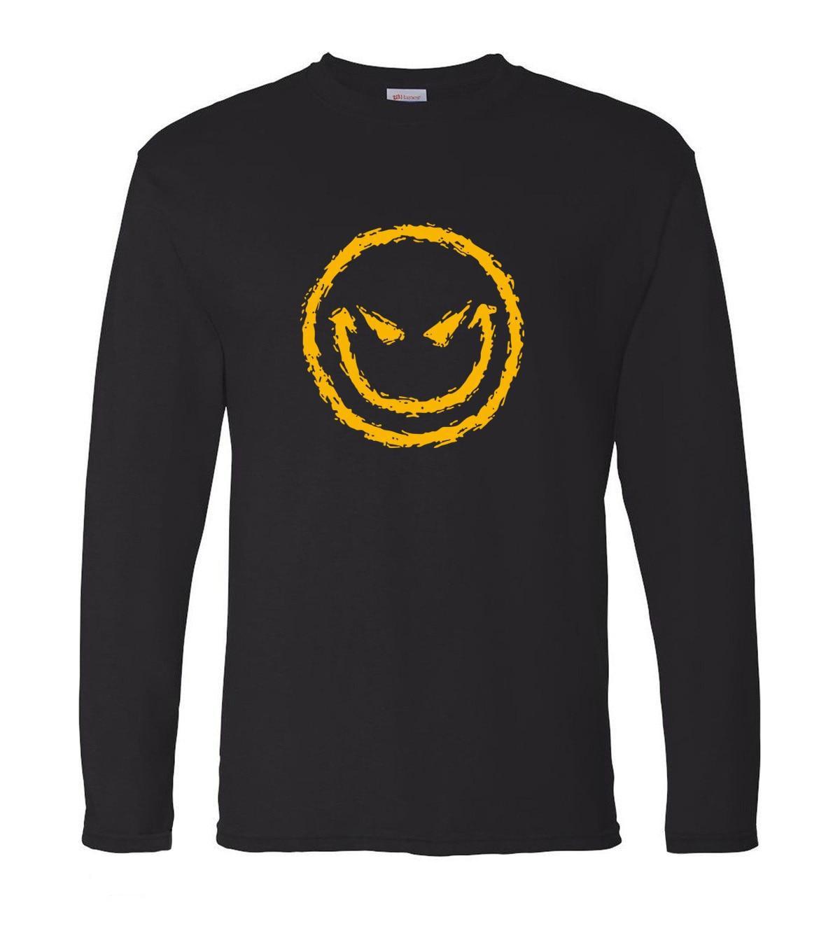 Evil Smiley Face hip hop style streetwear 2019 new spring 100% cotton men's long sleeve o-neck T-shirts brand man t shirt S-2XL