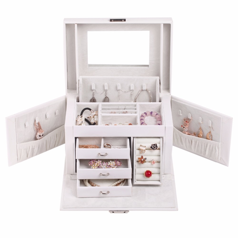 Nueva caja de gemelos, caja de anillo pendiente de terciopelo, soporte para collar, organizador de joyas de PU grande, Estuche de transporte de anillo de cuero blanco