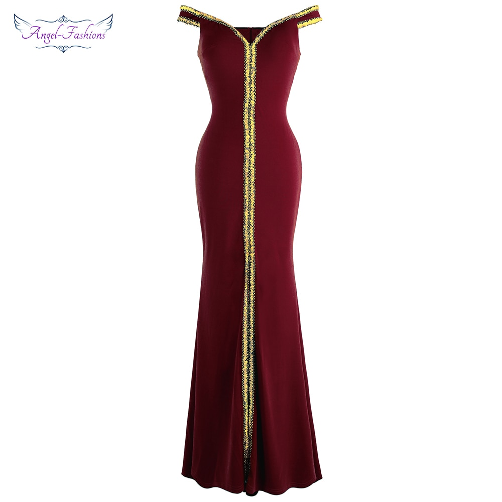Angel fashion-فساتين سهرة نسائية طويلة برقبة قارب ، فستان سهرة أسود ، هدية عيد ميلاد ، فستان أم غيت ، 398