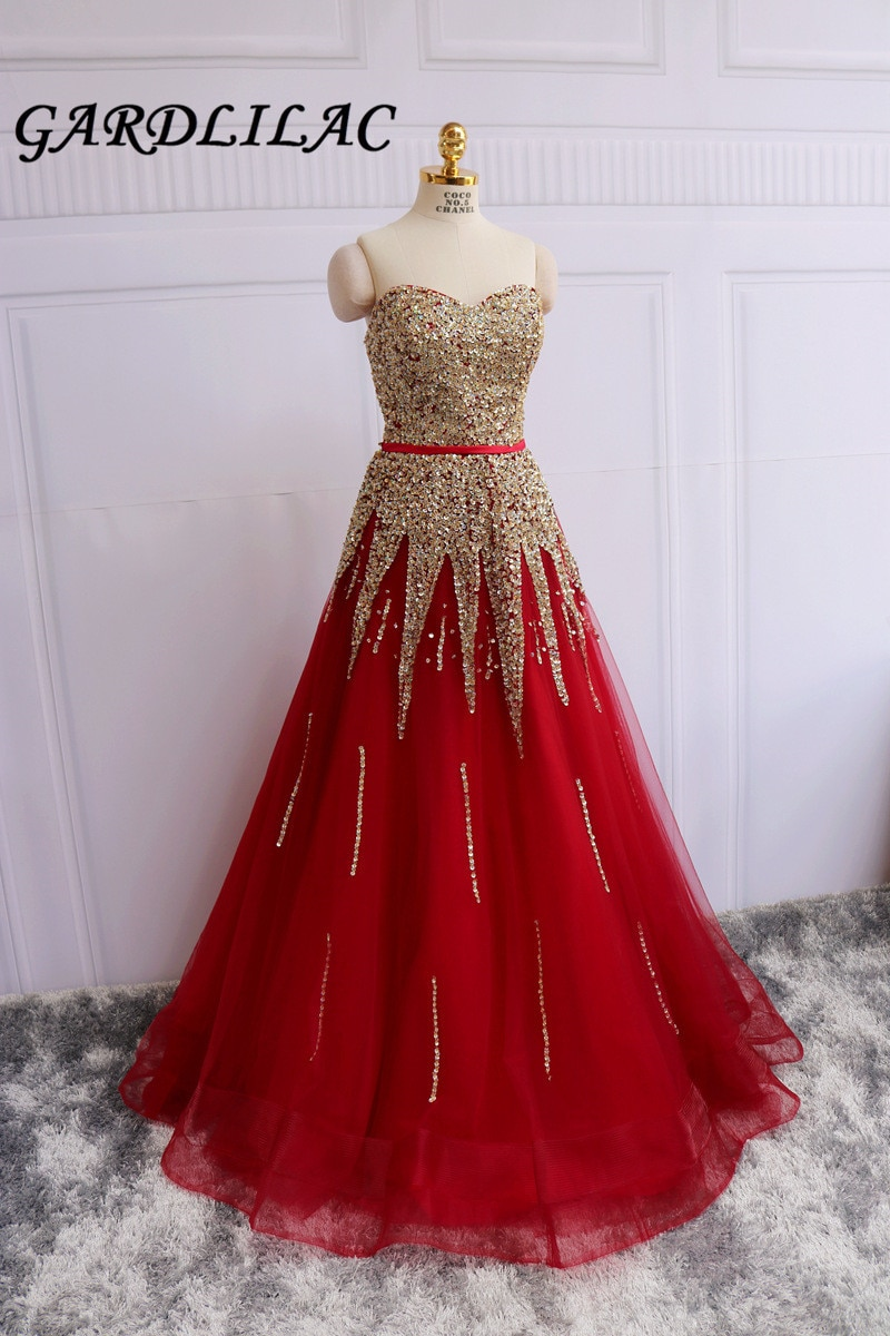 Sweetheart Red Quinceanera Dresses Beaded Gold Sequins Masquerade Ball Gown Prom Formal dresses Vestidos De 15 Anos