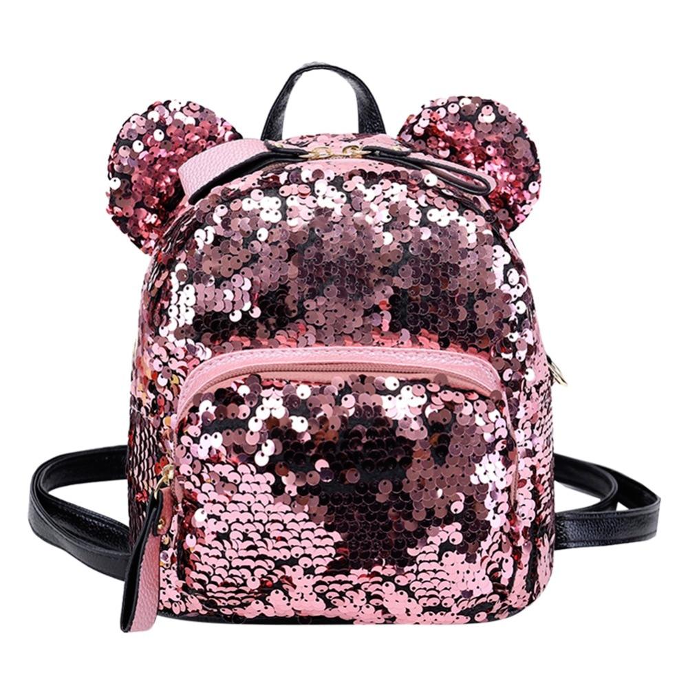 Mochila brillante de lentejuelas para mujer, Mini bolso de fiesta portátil para niñas, bolso de viaje a la moda, bolso de hombro brillante para chicas, Mochila femenina