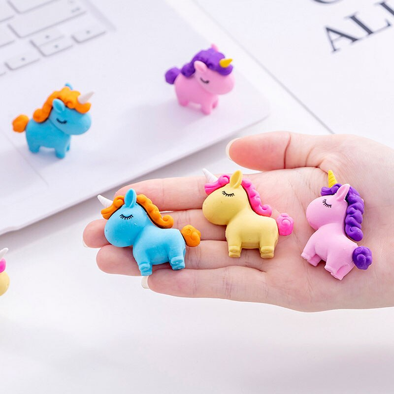 Colorful Rubber Erasers unicorn Pencil Students Stationery School Supplies For Children Kids Gift Eraser 3pcs set cat paw erasers kawaii stationery pencil cap erasers for kids correction tools pen topper eraser set school supplies