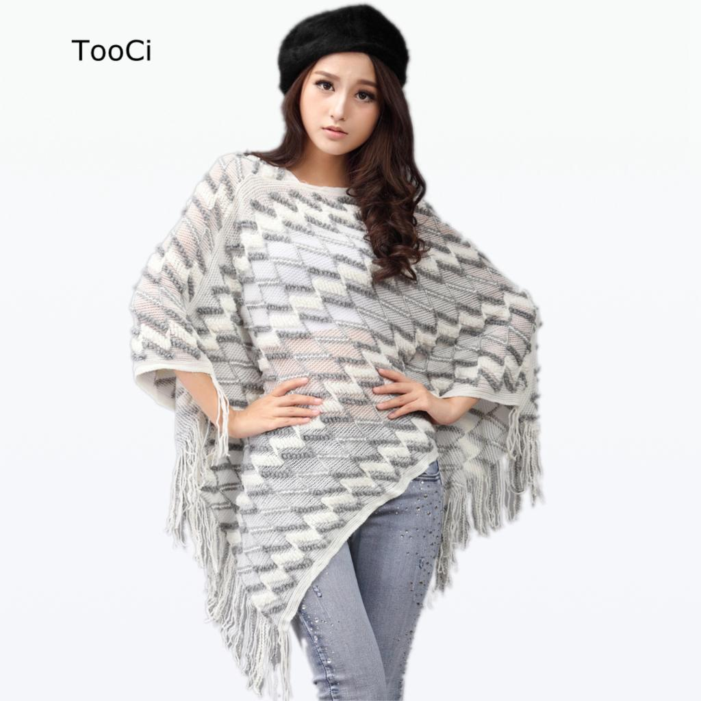 Moda wiosna kobiety biały sweter damskie frędzle Poncho długie dzianinowe swetry dzianinowa peleryna
