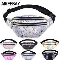 Поясная голографическая сумка AIREEBAY для женщин, забавные серебристые женские поясные сумки с геометрическим узором, нагрудная Сумочка для т...