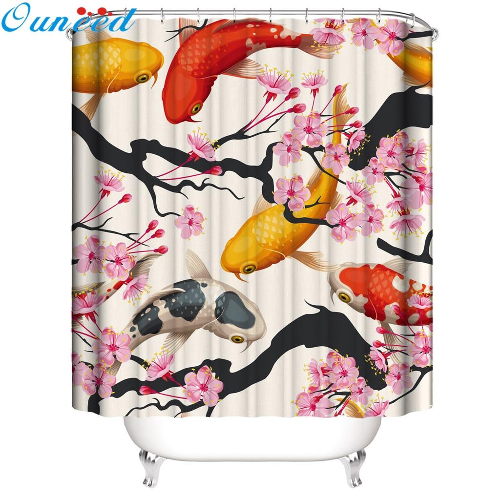 Ouneed, cortina de ducha, hermosas vistas al mar, cortina de ducha impermeable, flores de belleza, baño, baño, cortina de baño, 2020, dropshipping