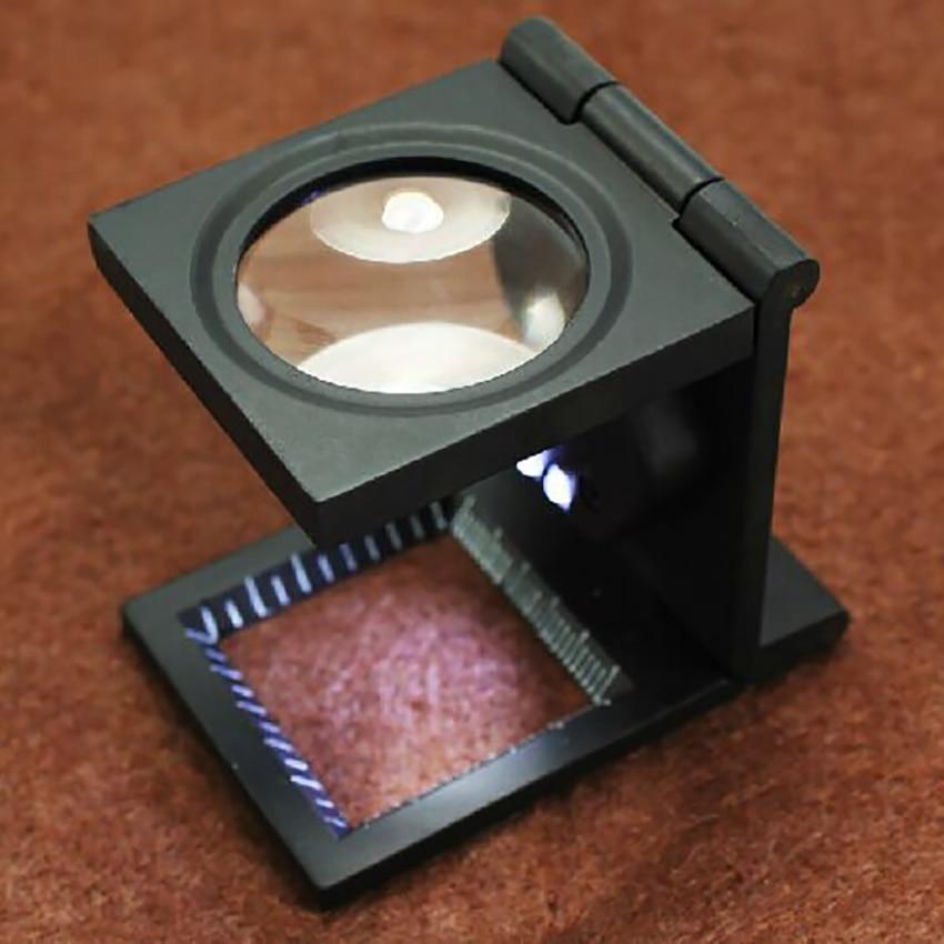 10-кратный светодиодный ный объектив со светодиодсветильник кой, увеличительное стекло из цинкового сплава, складные масштабы, лупы для тес...