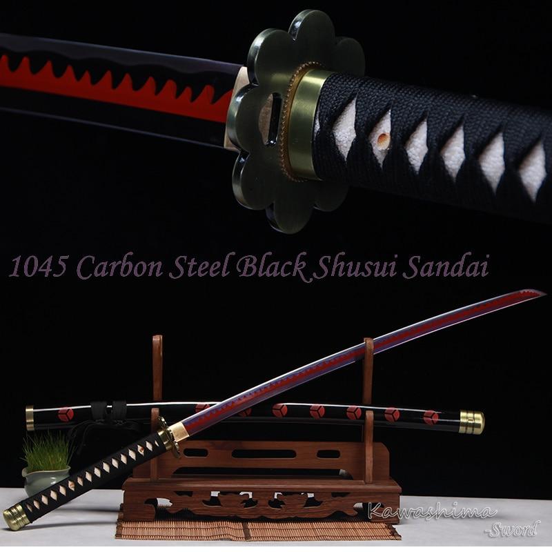 سيف زورو من الفولاذ عالي الكربون ، شفرة حمراء أرجوانية حقيقية ، كاتانا مصنوعة يدويًا ، لوازم حادة