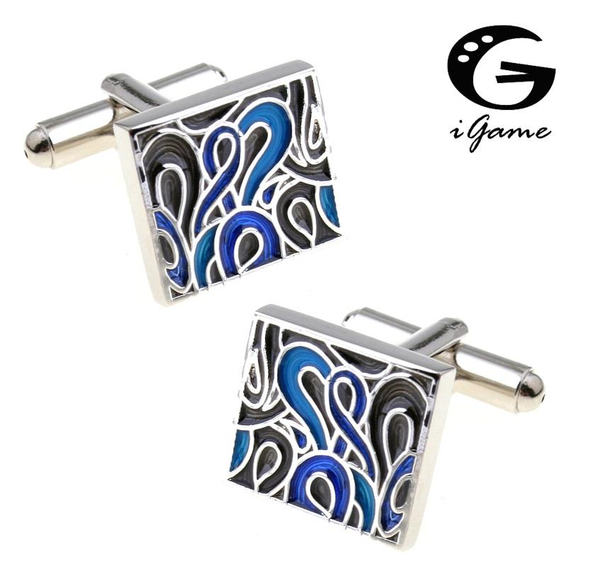 IGame мужской подарок Синие запонки медный материал Новинка королевская эмаль Выгравированный дизайн Бесплатная доставка