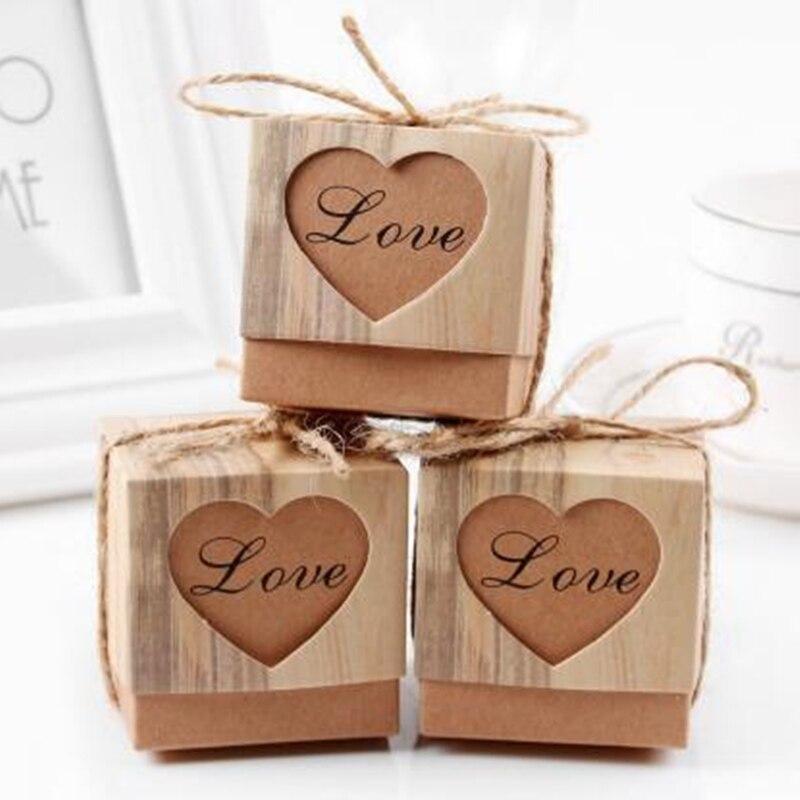 50 шт./компл. коробки для конфет с квадратным сердцем Подарочная коробка для шоколада крафт подарочная сумка с мешковиной шпагат для дня рожд...