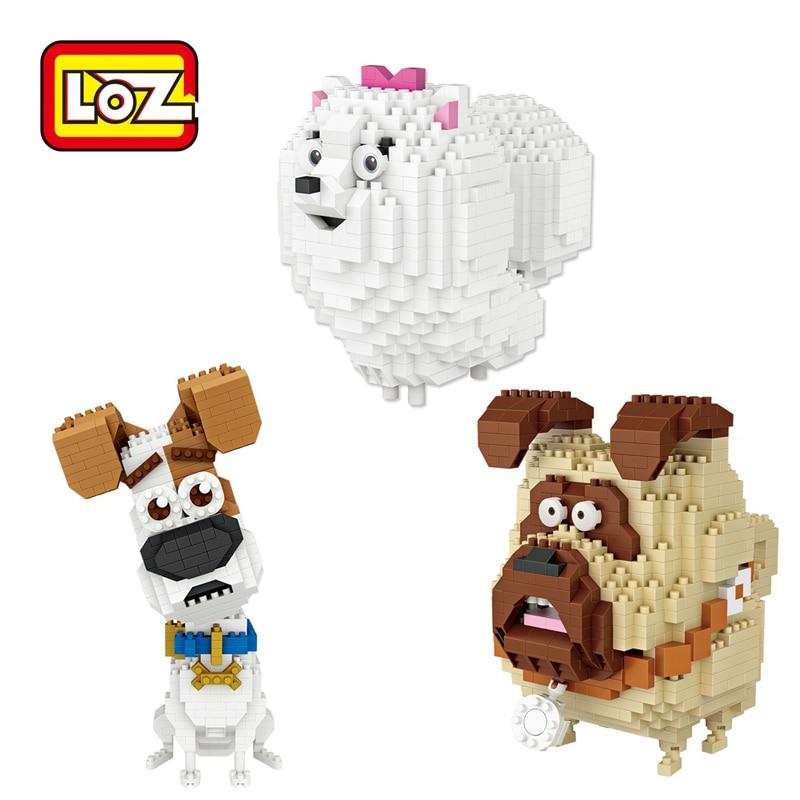LOZ bloques de diamante Max Chloe Mel bloques de construcción perro gatos bloques figura educativo LOZ conjunto de juguetes de bloques 9786 9787 9788