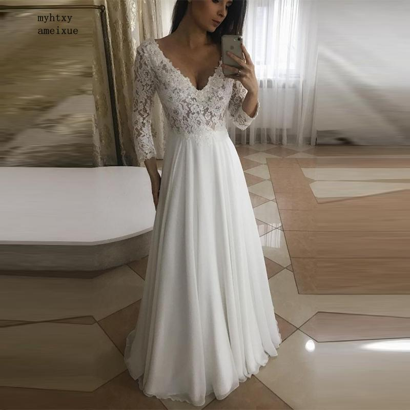 Vestido De Novia 2020 طويلة الأكمام الشاطئ رخيصة فستان الزفاف الدانتيل الشيفون ثوب زفاف مثير الخامس الرقبة طول الكلمة فستان الزفاف