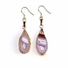 Couleur or naturel Agates trou tranches Geode Druzy Drusy boucles doreilles pour femmes mode boucles doreilles bijoux Lol Oorbellen Pendientes