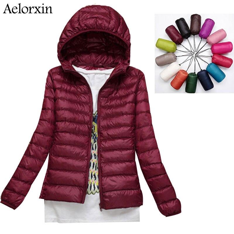 Aelorxin Women Ultra Light Down Jacket Hooded Winter Duck Down Jackets Women Slim Long Sleeve Parka Zipper Coats Pockets