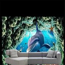 Beibehang Custom foto achtergrond behang muurschildering behang grote woonkamer TV shark hait 3d papel de parede