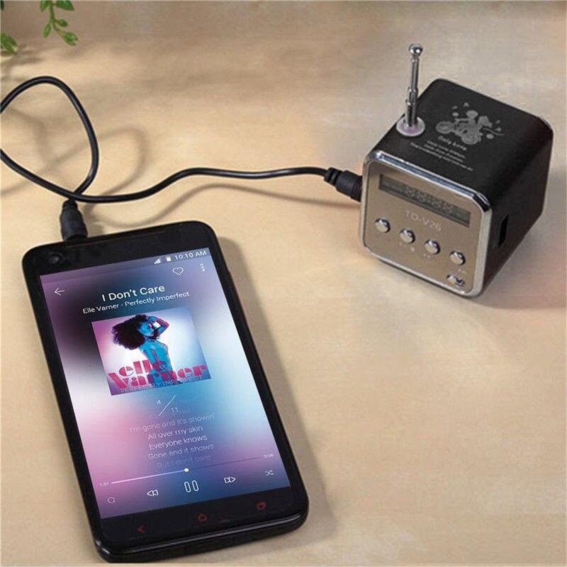 Mini altavoces portátiles altavoces de Subwoofer de forma cuadrada soporte de sonido LCD Digital Micro SD/TF Radio Box con producto de Audio aéreo