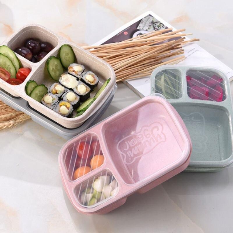 Contenedor de almacenamiento Biodegradable, caja de paja de trigo para Picnic, 3 rejillas con tapa, caja de alimentos para microondas respetuosa con el medio ambiente, SZ
