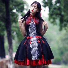 Cute girl lolita dress women sleeveles Chinese style lace silk dragon dress cosplay dress female vintage ball gown dress vestido