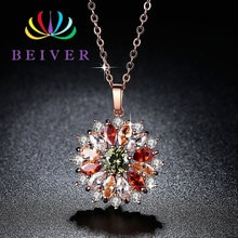 Beiver multi-couleur Zircon Rose or couleur collier de fleurs pour les femmes 2019 nouveau bijoux de mariage de mode
