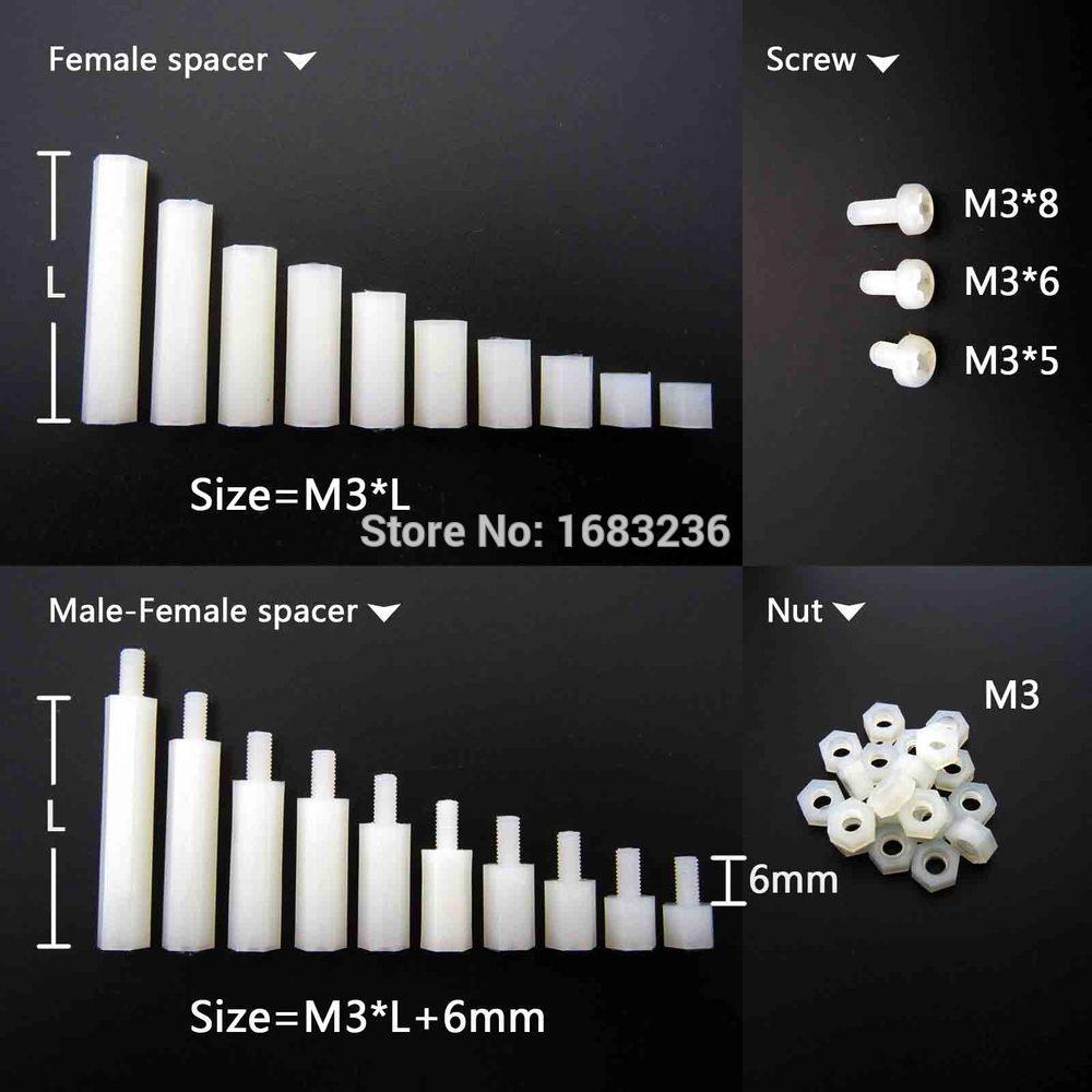 50pcs White Plastic Nylon M3x5/6/8/10/12/15/18/20/25/30+6mm Hex Column Standoff Support Male-Female/Female Spacer Screw