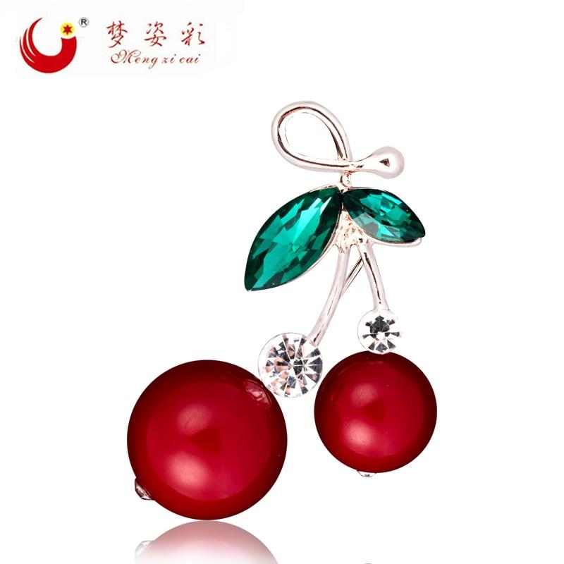 Broches de cristal de nueva moda y alfileres Eanmel para mujer, broches de cereza con diamantes de imitación, accesorios de joyería de boda