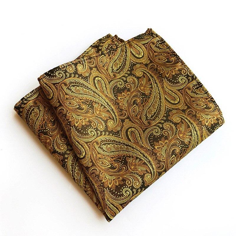 Trajes de negocios clásicos de 25*25cm para hombre bolsillo cuadrado para bodas pañuelo Paisley de moda regalo de Festival para hombre