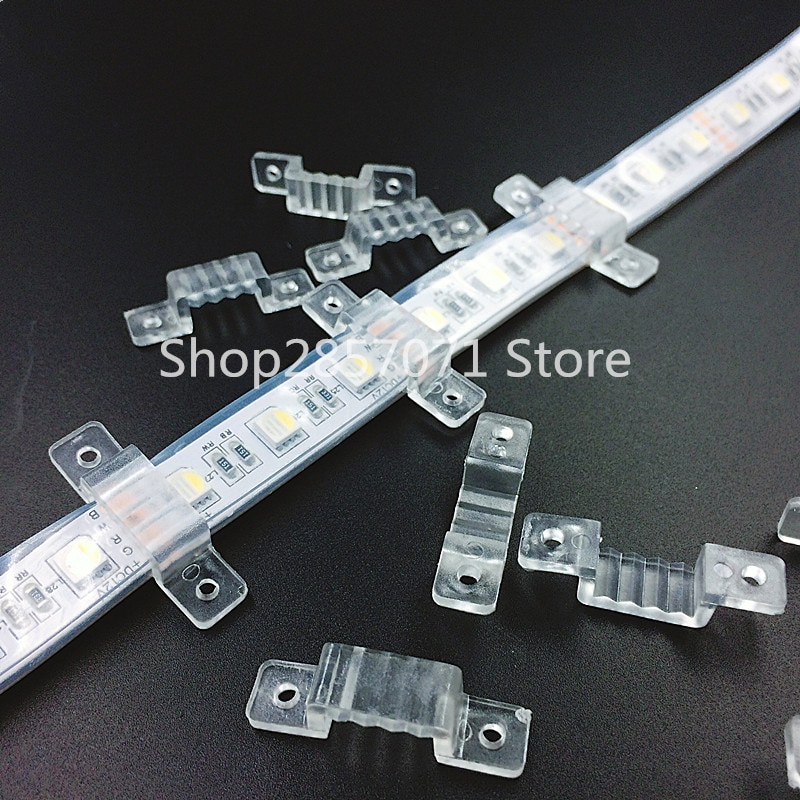 100 Uds 8mm 10mm 12mm ancho LED Fijación de silicona Clips de montaje para tira de LED A