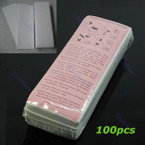 100 Uds depilación eliminar cera depilatoria tira no tejida depiladora rollo de papel encerado